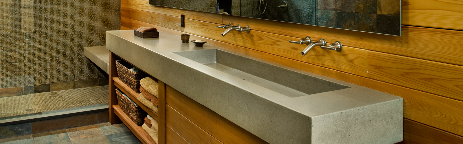 Single bathroom sink with two faucets - Concrete Sinks Nyc